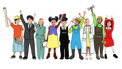 Group Career Children Standing Variation Uniform Concept