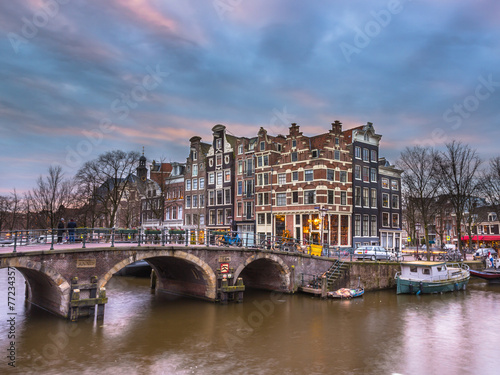 Poster Chicago Canal houses sunset Amsterdam