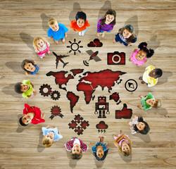 Multiethnic Group Children World Map Social Network Concept