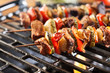 Grilling shashlik on barbecue grill - 77235395