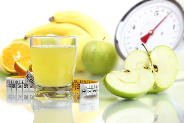Apple juice glass, fruit meter scales diet food