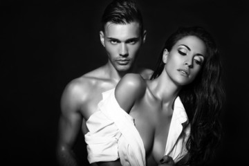black and white photo of sexy beautiful couple