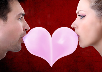 lovers couple kiss heart shaped valentine day with chewing gum