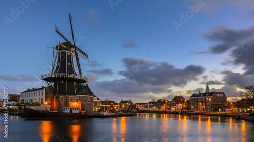 Aluminium Amsterdam Haarlem night scene