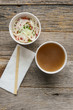 Pho Fast Food To Go on Wood Background