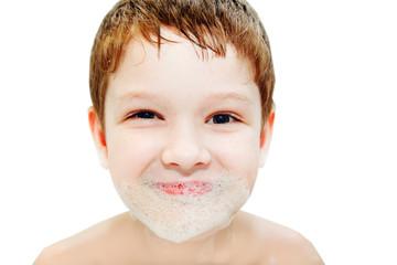Little boy with foam beard.