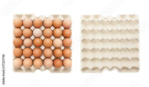 Leinwandbild Motiv Eierpalette - voll und leer
