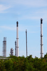 Chimneys of Oil and Gas Refinery Plant