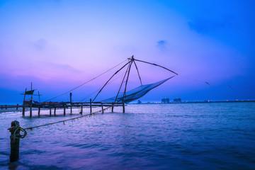 Beautiful Kochi chinese fishnets in twilight Kochi, Kerala. Fort