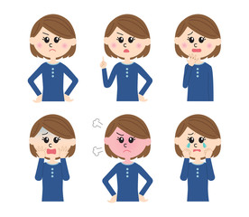 A set of six pose variations of unhappy young woman