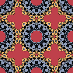 Seamless symmetrical pattern in red and yellow colors