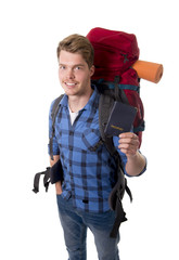 backpacker tourist holding passport carrying travel backpack