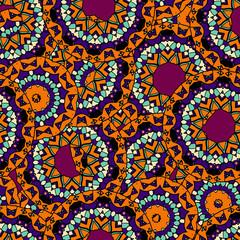 Stylized hand drawn ethnic seamless pattern