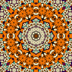 Hand drawn seamless ornament in orange color. Endless