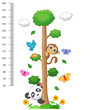 Wall meter with three and wild animals - 77241159