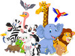 Cartoon wild animals background - 77241389