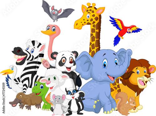 Cartoon wild animals background - 77241389