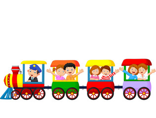 Happy kids on a colorful train