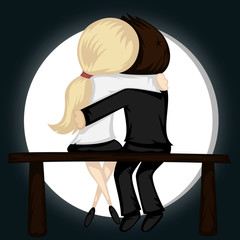 Be my Valentine! - Lovely couple sit on a bench with a full moon