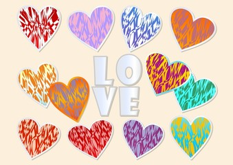 A set of multicolored grunge hearts for Valentine day design