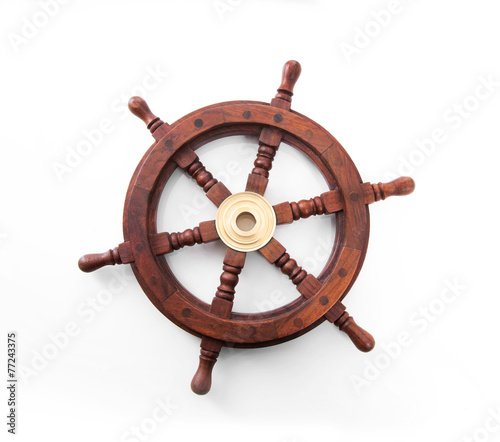 Leinwanddruck Bild Steuerrad oder Ruder eines Schiffes isoliert auf weiß