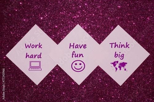 Motivational text on purple glitter background Photo by Sabinezia