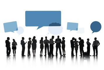 Silhouettes Business Talking Speech Bubbles Concept