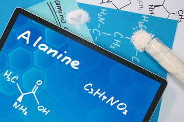 Tablet with the chemical formula of  Alanine . Amino acids.