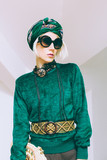 Boho style glamorous lady. Spring fashion accessories. Sunglasse poster