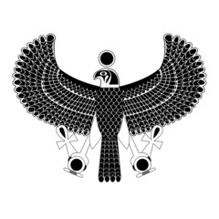 Black and white ancient egyptian symbol of Horus the falcon god