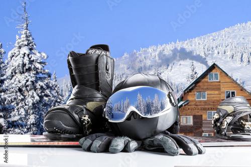 Papiers peints Glisse hiver Winter sport equipment on winter background
