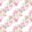 Seamless floral pattern with cute cartoon flowers background