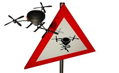 Verkeersbord - pas op voor drones