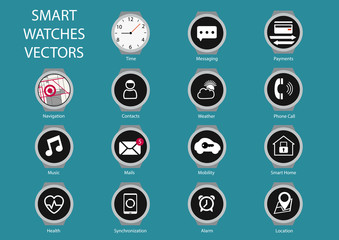 Flat design vector icons of smart watch clock faces