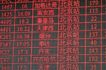 chinese timetable train main station peking