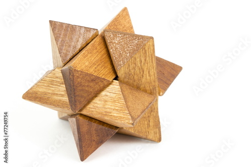 wooden puzzle, isolated image - 77249754