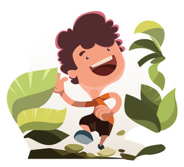 Boy running in nature vector illustration cartoon character