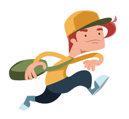 Boy running with a bag vector illustration cartoon character