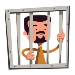 Man in jail holding bars vector illustration cartoon character