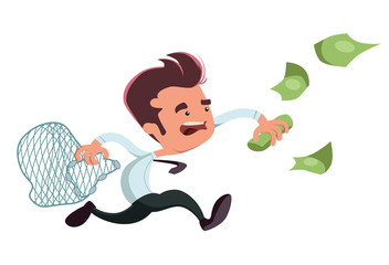 Catching money businessman vector illustration cartoon character