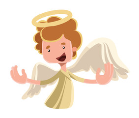 Beautiful angel spreading wings illustration cartoon character