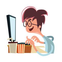 Man looking at computer vector illustration cartoon character
