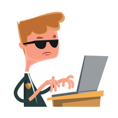 Investigation agent typing at lap top vector cartoon character