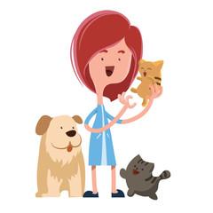 Girl holding cute pets vector illustration cartoon character