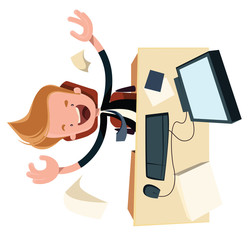 Business enthysiasm at work desk vector cartoon character