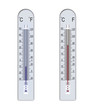 Leinwandbild Motiv thermometer, below zero and above zero