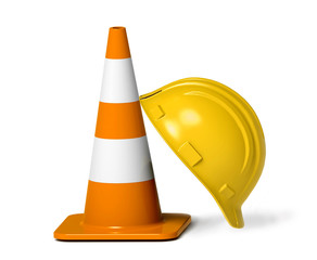 Traffic cone and hardhat