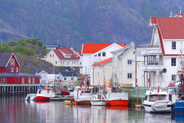 Norway, fjord.Fishing village. Lofoten Islands.