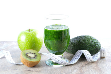 Healthy drink. Green smoothie. Diet and detox.