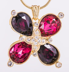 necklace clover shape and ruby